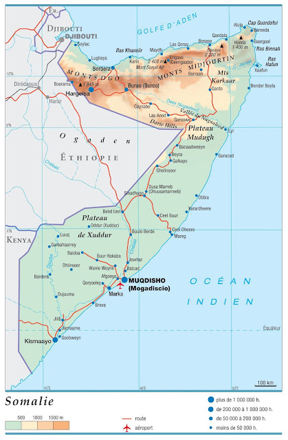 Carte simple de la Somalie