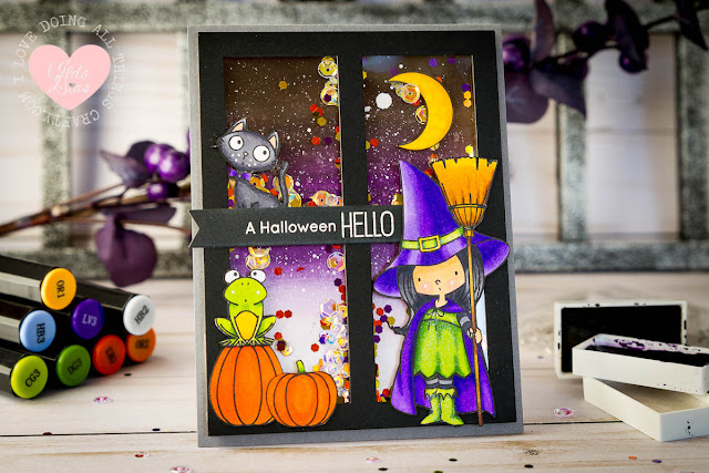 A Halloween Hello Shaker Card - MFT's Witch Way Is the Candy Stamp set