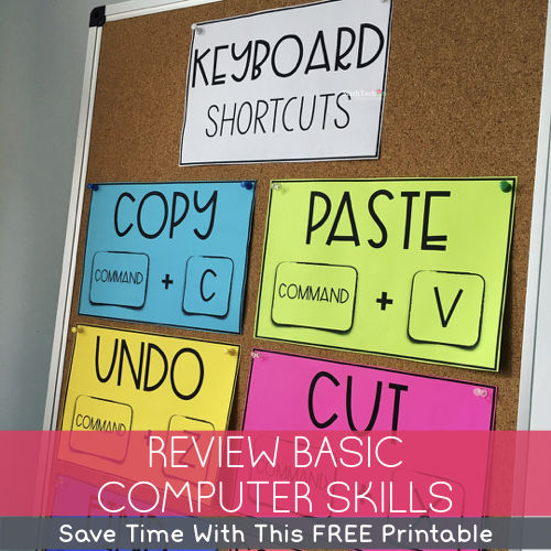 Review Basic Computer Skills, Technology in the Classroom, Keyboard shortcuts printable and cursor icon printable