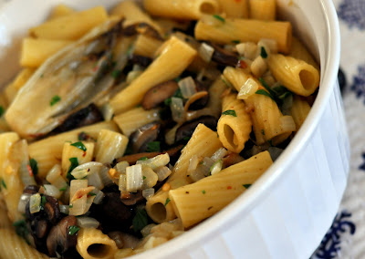 Rigatoni with Roasted Belgian Endive and Mushrooms | Taste As You Go
