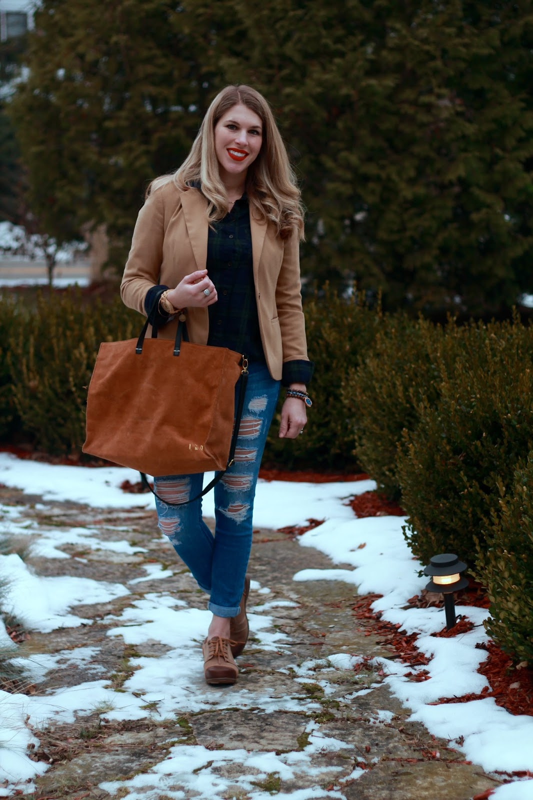 plaid button up, camel blazer, distressed jeans, 4eursole oxfords, suede tote