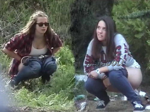 Spanish girls pee outdoors hidden camera (Girls Gotta Go Voyeur Pissing 05)