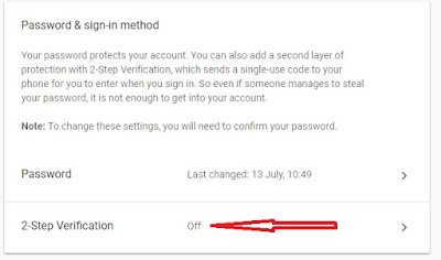 Turn On two-factor authentication google