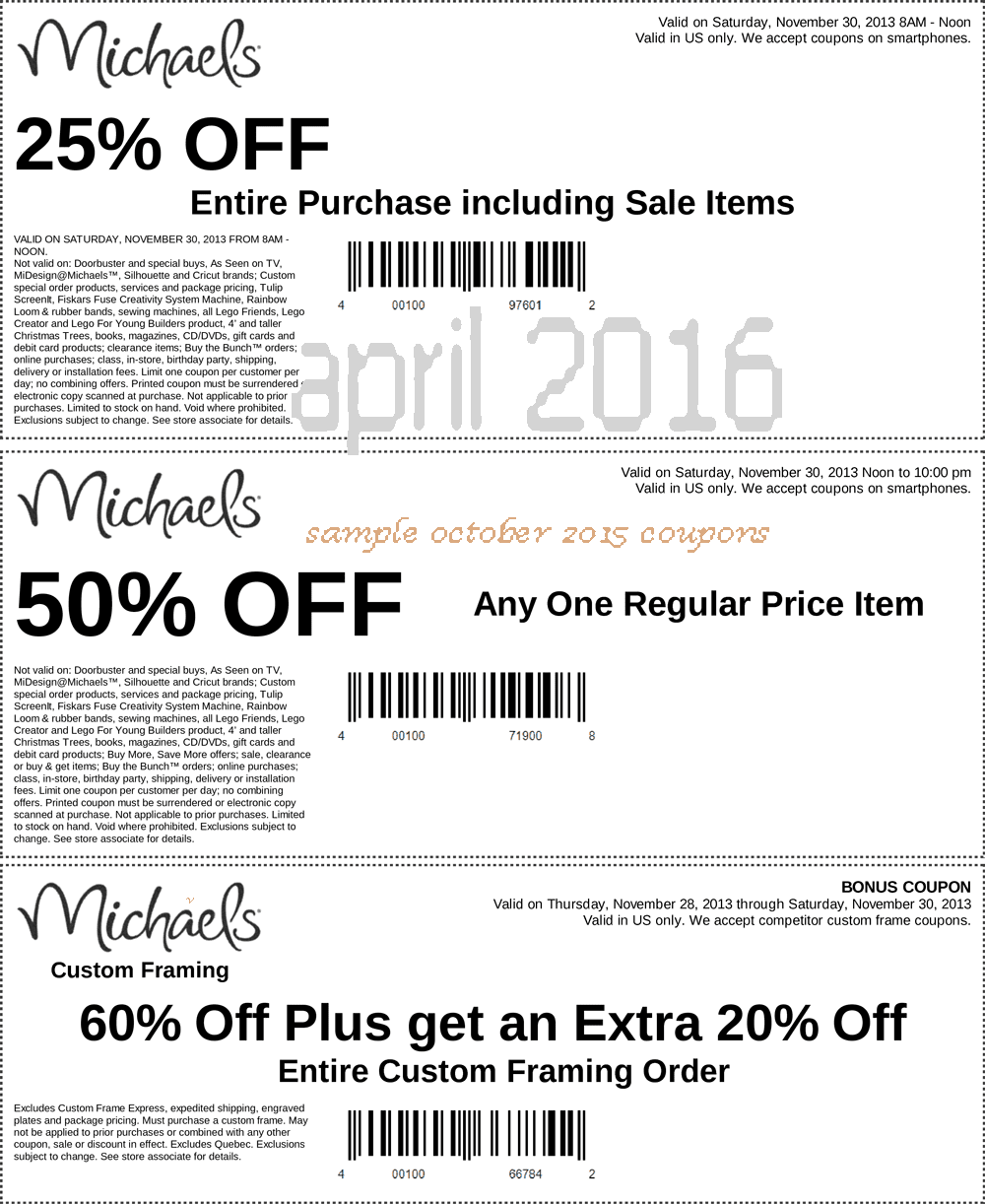 Coupons for michael's
