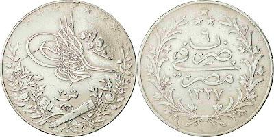 20 قرش 1913 مصر مصر كوين ، محمد الخامس ، مصر ، فضي