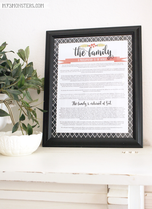 Free Printable Family Proclamation -- with 13 different options, there's one for everybody at my3monsters.com