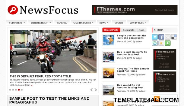 Free Wordpress News Portal Red Gray Theme