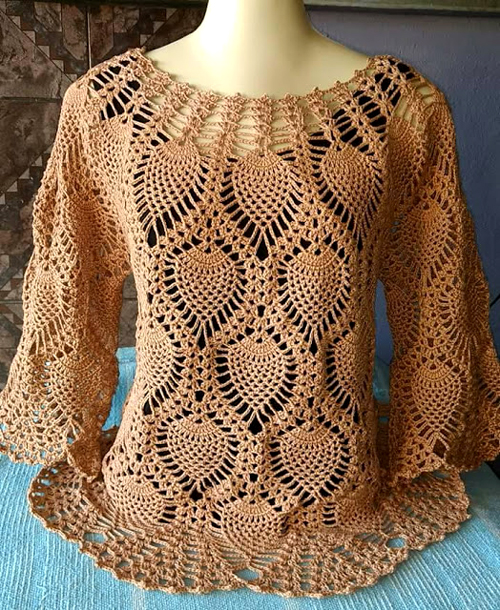 Beautiful Pineapple Crochet Blouse - Tutorial
