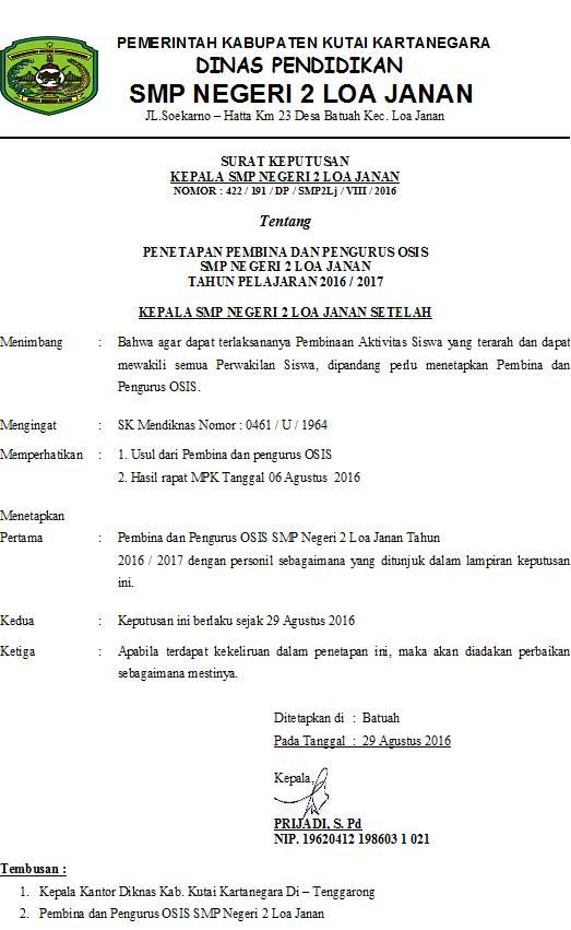 Surat Keputusan Kepala Sekolah Tentang Pengurus Osis ...