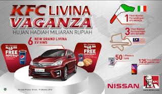 Undian KFC Livina Vaganza Berhadiah 4 Tiket Nonton GP, 50 i-Phone dan 125 Asus Zenfone