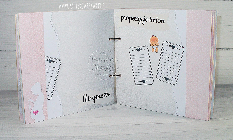 album handmade rękodzieło scrapbooking ciąża ciążowy ciążownik baby shower bociankowe pępkowe prezent dla przyszłej mamy pamiętnik oczekiwanie test ciążowy