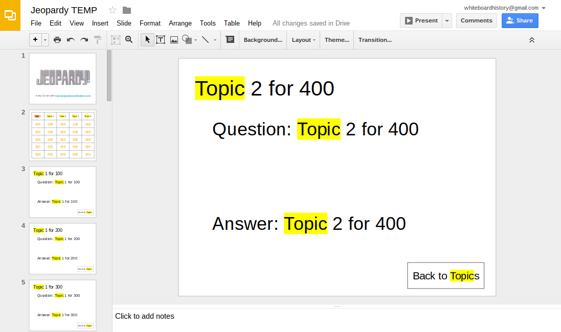 Learning Blog: Make a Jeopardy Template With Google Slides