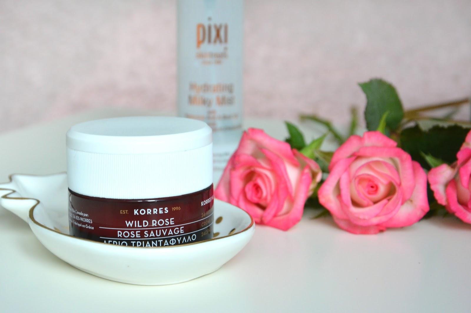 Pink Roses; Korres Wild Rose 24h Moisturiszing & Brightening Cream; Pixi Hydrating Milky Mist