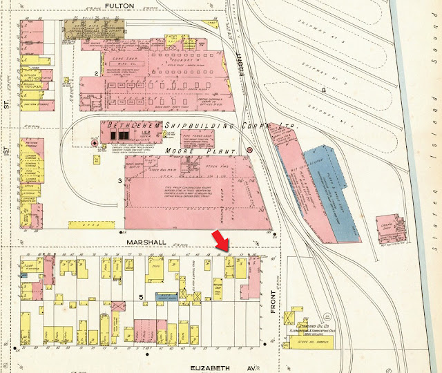 Map showing the location of the c.1910 residence of the family of Wm. A. and Mary E. Dixon. This is the 1918 Sanborn Map, Sheet 75, for Elizabeth, New Jersey.