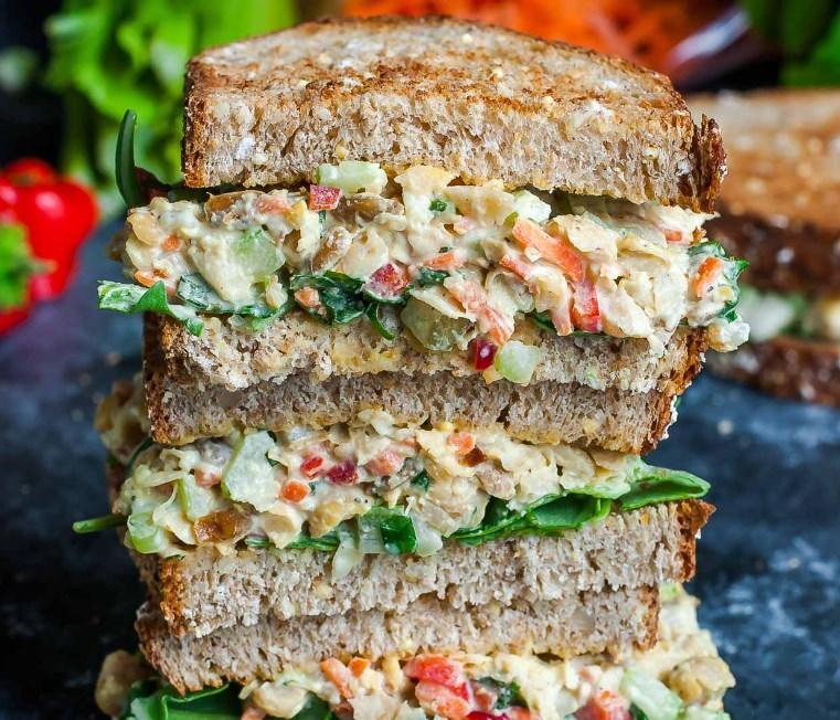 Garden Veggie Chickpea Salad Sandwich #lunch #vegetarian