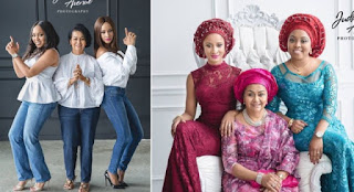 Stunning Photos Of Adesua Etomi With Banky W's Mother And Sister