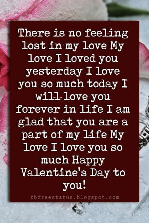 Happy Valentines Day Quotes, There is no feeling lost in my love My love I loved you yesterday I love you so much today I will love you forever in life I am glad that you are a part of my life My love I love you so much Happy Valentine's Day to you!