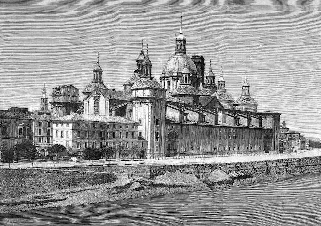 Vista de la iglesia de la Virgen del Pilar tomada desde el Ebro (La Ilustración Española y Americana, 15-10-1880)