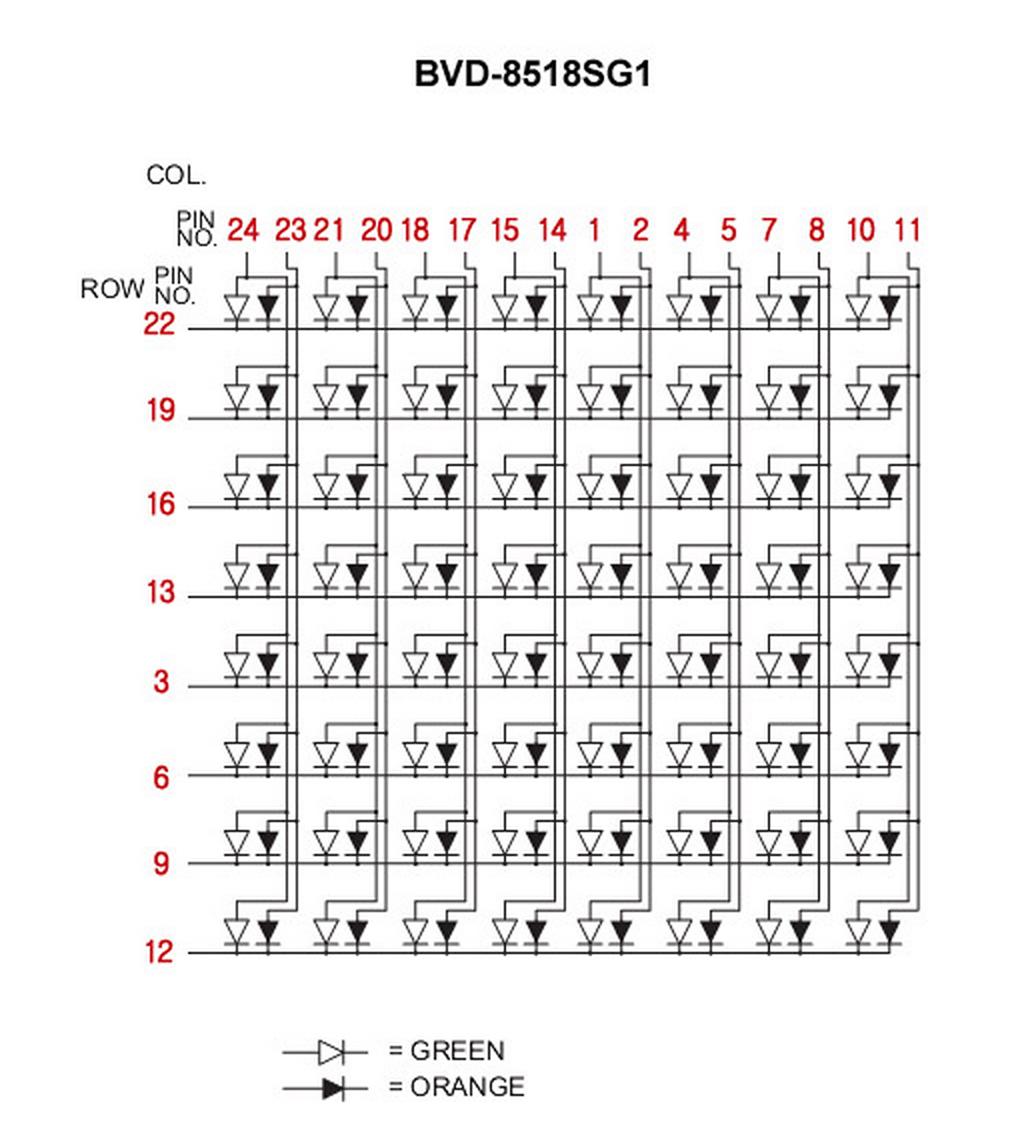 Bvd Sg1 8x8 Dual Color Led Dot Matrix Arduino Direct