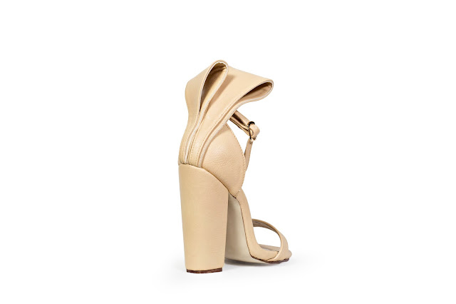 Nude Block High Heels with origami bow at the back