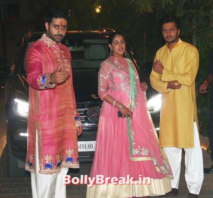 Abhishek Bachchan, Riteish Deshmukh, Genelia D'Souza, Photos from Amitabh Bachchan's Diwali Bash 2014