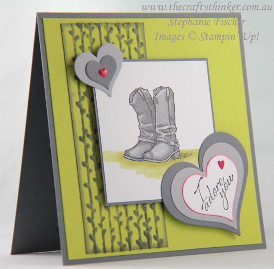 #thecraftythinker, #valentinecard, #cardmaking, #masculinecard, #stampinup, Valentine card, Country Livin', Masculine, Stampin' Up! Australia Demonstrator, Stephanie Fischer, Sydney NSW