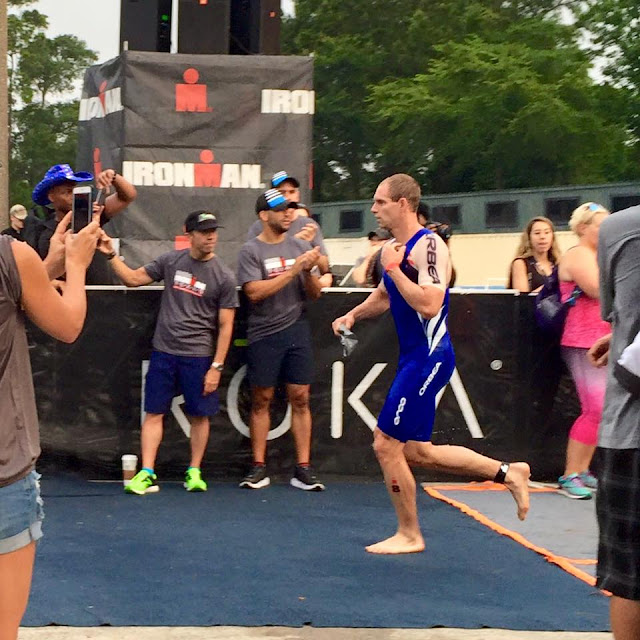 Professional triathlete Andrew Starykowicz at T1, IRONMAN Texas, May 14, 2016