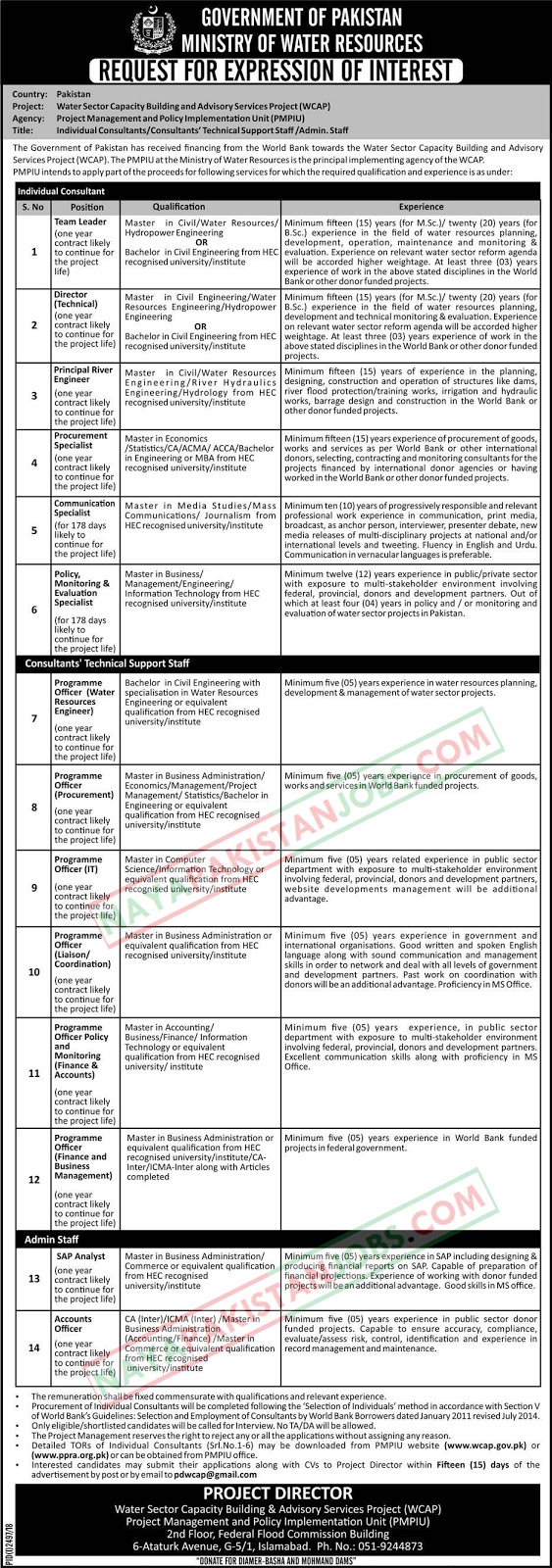 Jobs In Ministry Of Water Resources Jobs Dec 2018