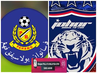 Live Streaming Pahang vs JDT FC Piala FA Malaysia 6 April 2018