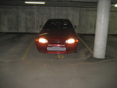 Nissan Skyline GTR parked in Parking Structure