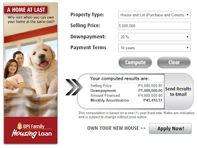 House and lot mortgage calculator example