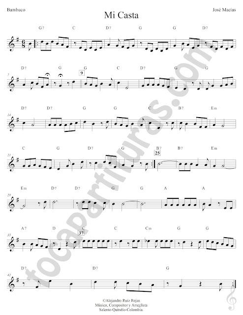 Mi Casta Bambuco de José Macías Partitura Fácil con Acordes Mi Casta Easy Sheet Music with Chords
