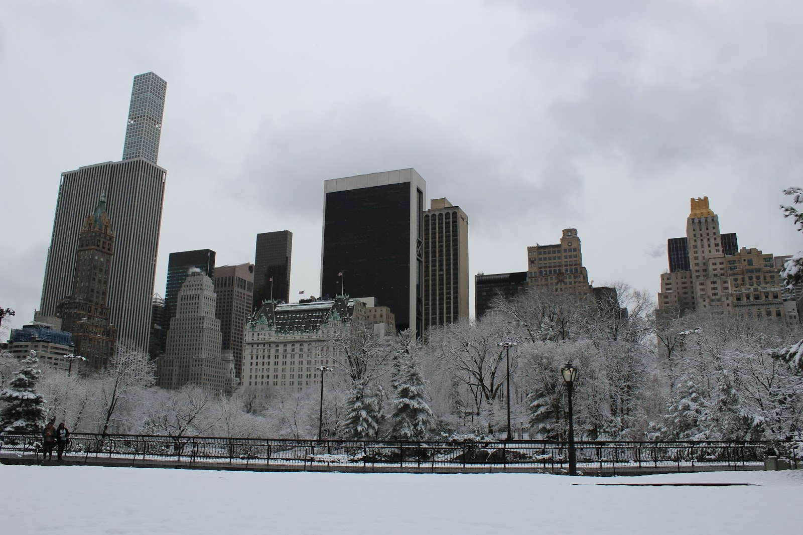 The Plaza Hotel from Central Park in the snow