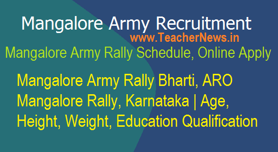 Mangalore Army Recruitment Rally 2018 Schedule, Venue, Online Apply last date