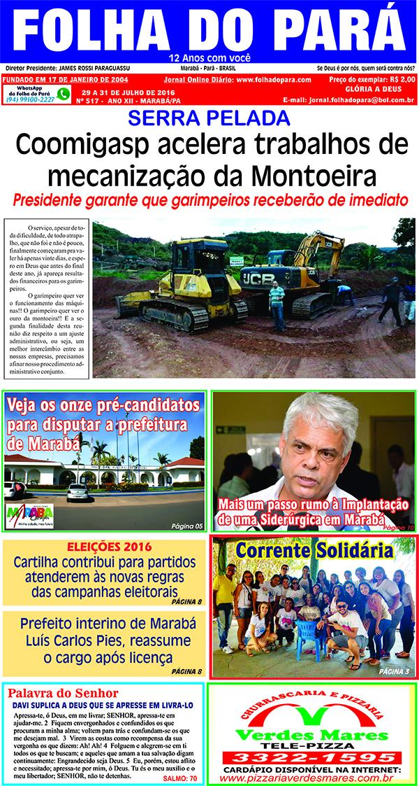 VEJA AS PÁGINAS DA NOVA EDIÇÃO DO SEU JORNAL FOLHA DO PARÁ