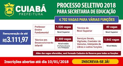 edital Processo Seletivo SME Cuiabá-mt