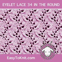 Eyelet Lace 34, easy to knit in the round
