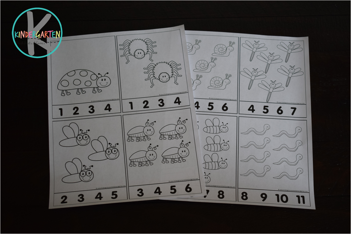 Kindergarten Worksheets And Games Free Count To 30 Bugs