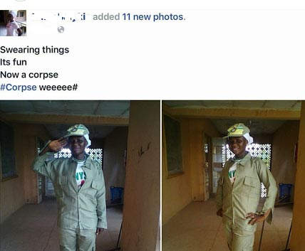 "This NYSC ""corpse"" member is super excited"