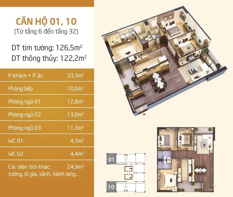 Mặt bằng thiết kế điển hình căn hộ 01 và 10 tại chung cư Lạc Hồng Lotus.