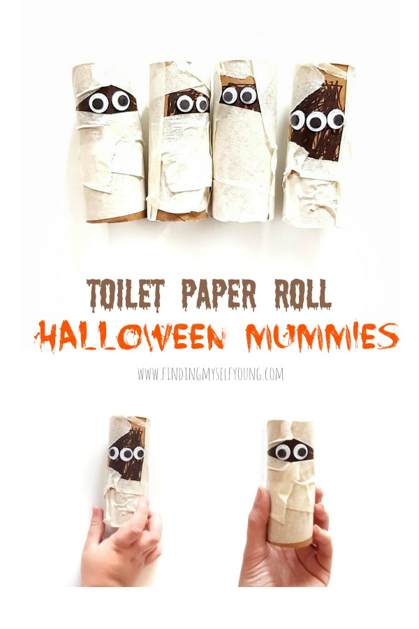 Halloween mummies made from recycled toilet paper rolls
