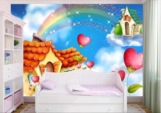 Rainbow wall mural 3d room wallpaper rainbow murals for walls 3d fairy tale girls room baby cartoon clouds heart house