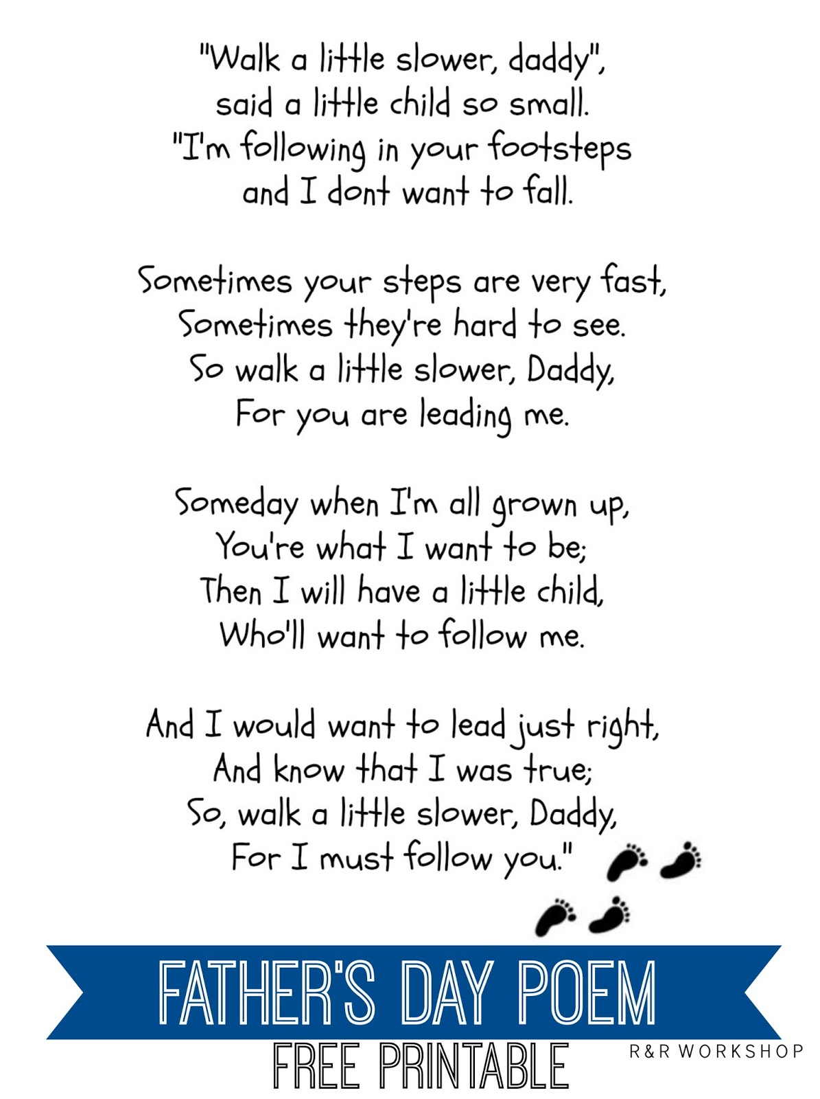 R Amp R Workshop Father S Day Poem Free Printable