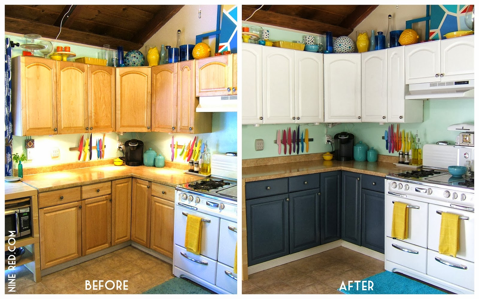 Painted 60s Kitchen Cabinets Spray Painting Kitchen Cabinets Before And After