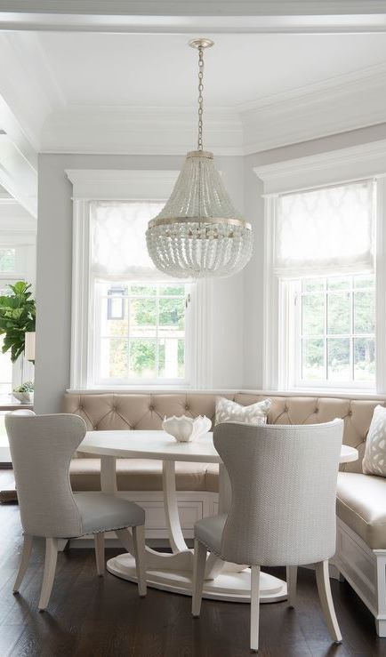 Curved Breakfast Banquette amongst White Oval Dining Table 50+ Provence Design Ideas That Prove White Is the Prettiest Color