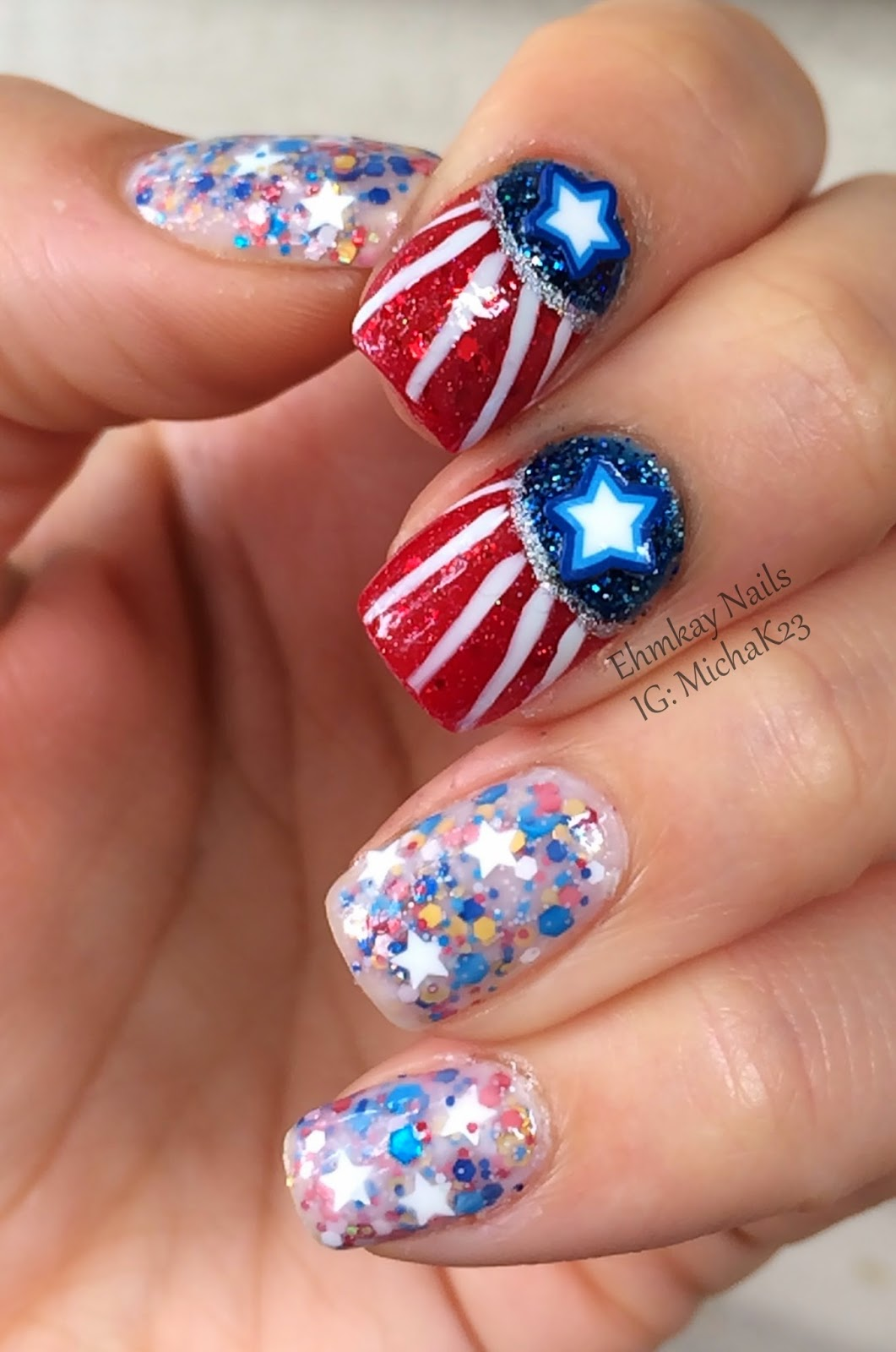 Nail Art Designs And Nail Polishes For French Manicure: Ehmkay Nails: Fourth Of July Nail Art