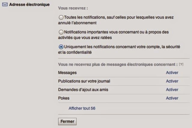 Limitez les notifications mail et push de Facebook