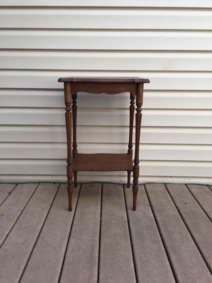 Before photo of small wood side table