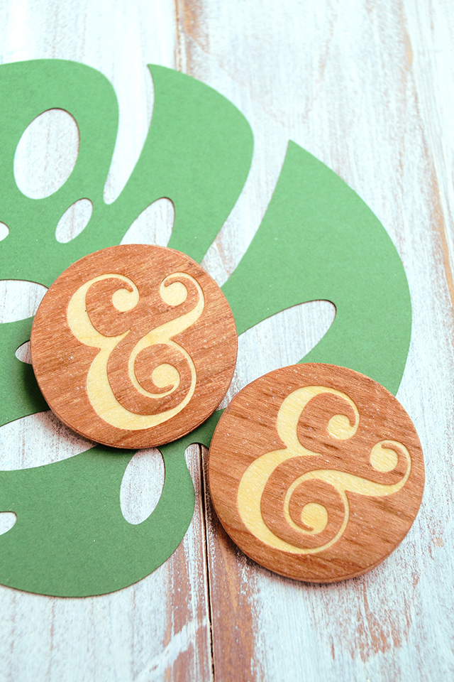 wood inlay ampersand pins at mod podge rocks
