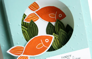 "Stampin' Up! Friends & Flowers Diorama Card: Happy Birthday ""Fishes"" #stampinup Occasions Catalog Farewell Blog Hop www.juliedavison.com"